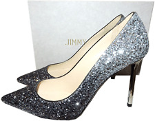 Jimmy Choo 'ROMY' Pointy Toe Pump Silver Degraded Glitter Heels Shoes 41.5