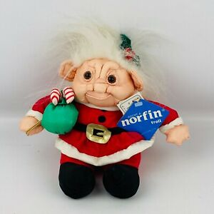 Norfin Troll Paracutes Christmas Candy Canes 1992 Soft Stuffed Doll Red Santa
