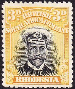 Rhodesia 1913 3d DIE 1 PERF 14 SG 210 MH OG