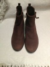 ECCO DOUBLE ZIP LOW WEDGE ANKLE BOOT BROWN SUEDE LEATHER UK 7 EU 40 - WORN ONCE