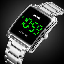 SKMEI Men's LED Display Watches Fashion Digital Stainless Steel Waterproof Watch