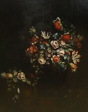 Huge Fine 17th Century French Still Life Flowers Old Master Antique Oil Painting