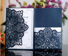 50pcs Tri-Fold Business Invitation Lace Married Laser Wedding Invitation Card