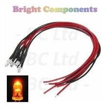 5x Candle/Flickering Pre-Wired Orange LED 3mm : 9V ~ 12V : 1st CLASS POST