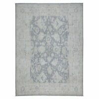 "8'10""x12'1"" White Wash Peshawar Pure Wool Hand Knotted Oriental Rug G52960"