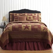 Twin Size Hand Stitched Quilt Country Patchwork Burgundy Red Ninepatch Star