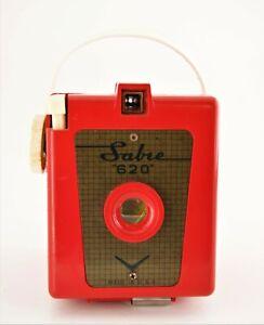 Red Plastic or Bakelite Mid Century Modern Sabre 620 Camera 1960's