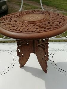 Vintage Anglo/Indian Hand Carved Round Folding Table Inlaid Decor 33cm High