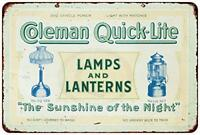 """Coleman Lamps & Lantern Quick-Lite Vintage Retro Metal Sign 8"""" x 12"""""""