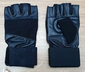 MENS LADIES Cycle Fitness Gloves Large Black Stretchy Padded Palms