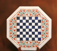 "18"" white  Marble Centre Coffee Lapis Floral Chess Table Top Inlay Garden"