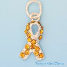 LEUKEMIA MULTIPLE SCLEROSIS RIBBON .925 Sterling Silver Charm w/ ORANGE CRYSTAL
