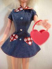 Barbie Doll Clothes Denim Dress Patchwork Pockets Heart Red Purse 1997 #18219