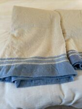 More details for 2x vintage  atkinson's custodian lambs wool white & blue blankets 86x62 ins