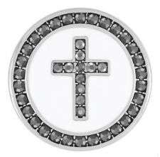 GINGER SNAPS™ WHITE ENAMEL/HEMATITE CROSS SN03-24 BUY 4 GET 5TH $6.95 SNAP FREE