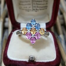 GEMS TV STERLING SILVER RING, PINK, YELLOW AND BLUE SAPPHIRE, SIZE R½, COA