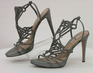 INC International Concept Women Formal Heels Pewter Studded Strappy Size 10