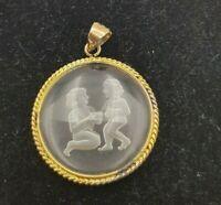 Vintage Silver Vermeil Gemini Zodiac reverse carved glass figural Pendant