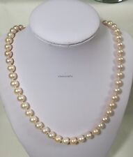 Genuine Silver8-9 mm Circle freshwater pearls necklace L48cm free earing Purple