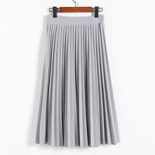 Women Pleated Retro Long Skirt Elastic Waist Chiffon Dance Dress #105b