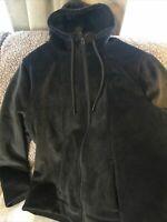 Time and Tru Black Velvet Velour Full Zip Hooded Jacket Pocket Size XL 16 18