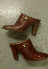 "Vintage ""Latinas"" Leather Burgundy High Heel Mules 60-70s sz 7.5"