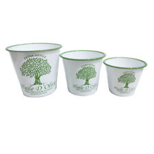 Shabby Chic Set of 3 Enamel Pots featuring French Country Style Olive Motif