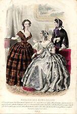 Stampa antica moda TRE DONNE in CONVERSAZIONE 1853 Old Print Fashion Engraving