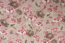 Antique French Art Nouveau pink printed cotton cretonne fabric daybed cover