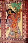 COLLECTORS' PIECE Vintage Portrait Laila Musician Wall Hanging Authentic Carpet