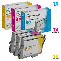 LD Reman T060 60 Inkjet Cartridges Set of 3 for Epson T060220 T060320 T060420