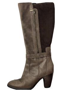 Clarks Womens Boot Brown Color Block Leather Suede 3' Heel Knee High Zip Up 8M