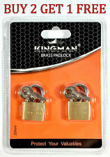 2 Small Metal Padlock Brass Travel Locks Keyed Suitcase Luggage Jewelry 20mm