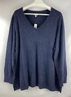 New, Talbots Navy Blue V-Neck Long Sleeve Sweater Size 3X, Cotton Blend,  V.