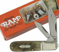 Marbles Rams Horn Handles Barlow Pocket Knife MR365 2 Folding Blades