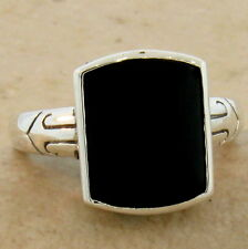 Genuine Black Agate Antique Style 925 Sterling Silver Ring Size 9.75, #895