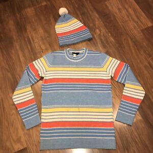 Vtg 70s Ski Sweater Matching Beanie DEMETRE Apres Ski WOOL Hat Lot WOMENS MEDIUM
