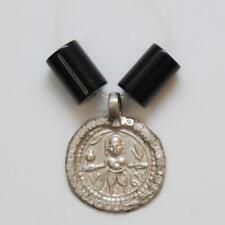 """OLD COIN Silver Hindu Deity Amulet Pendant_1"""" (25.8mm) h x 13/16"""" (19.6mm) w"""