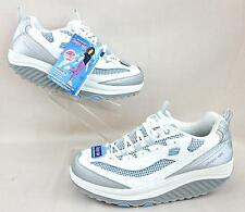 New With Tags! Skechers Shape-Ups Jump Start Shoes White Silver Blue 9.5