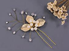 Perlas de Novia Accesorios para Pelo Hoja Oro Boda Tocado Cristal Pasadores 1PC