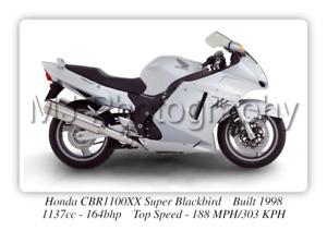 Honda CBR1100XX Super Blackbird Motorcycle Poster A3 Size Photographic Paper