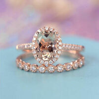 18K Solid Rose Gold Morganite Gemstone Ring Set Women Wedding Jewelry NEW