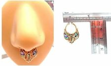 Ring 16 gauge 16g Triple Inlay Filigree Gold Brass Nose Septum Faux Fake Jewelry