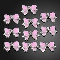 10x Pink 3D Alloy Rhinestones Nail Art Bow Tie Glitters Slice DIY Decoration