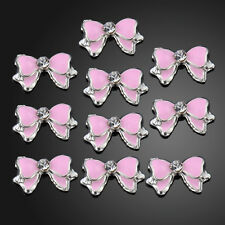 10x Pink 3D Alloy Rhinestones Nail Art Bow Tie Glitters Slice DIY Decoration