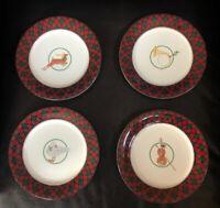 "Arita Tartan Plaid Salad Plate 7.75"" set of 4 different designs Christmas NIB"