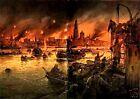 Antwerp Belgium Burning by Willy Stower 1914 World War 1  5.5x4 Inch Print 1