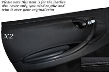 BLACK LEATHER 2X DOOR CARD TRIM SKIN COVERS FITS PORSCHE 986 BOXSTER 96-04