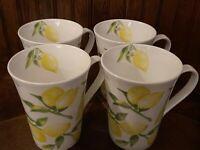 NEW MIKASA LEMONS SET OF 4 MIKASA MUGS CUPS COFFEE TEA BONE CHINA