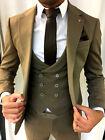 Diseñador Negocios Crema Beige Traje de hombre chaqueta chaleco Entallado